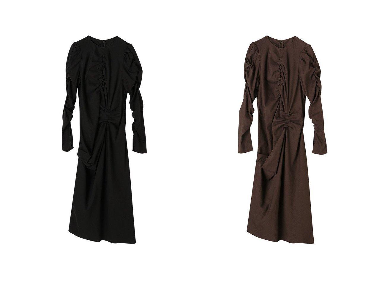 【ETRE TOKYO/エトレトウキョウ】のデザインギャザーIラインワンピース 【ワンピース・ドレス】おすすめ!人気、トレンド・レディースファッションの通販  おすすめファッション通販アイテム インテリア・キッズ・メンズ・レディースファッション・服の通販 founy(ファニー)  ファッション Fashion レディースファッション WOMEN ワンピース Dress 2021年 2021 2021春夏・S/S SS/Spring/Summer/2021 S/S・春夏 SS・Spring/Summer おすすめ Recommend なめらか ギャザー コンパクト ストレッチ スリット フェミニン ロング 春 Spring ブラック系 Black ブラウン系 Brown |ID:crp329100000027497