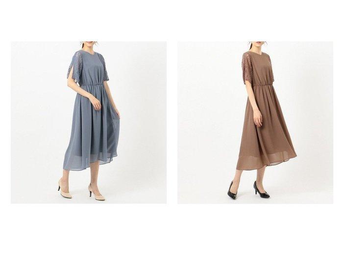 【any SiS/エニィ スィス】の【洗える】スリーブレースミディ ドレス 【ワンピース・ドレス】おすすめ!人気、トレンド・レディースファッションの通販  おすすめファッション通販アイテム インテリア・キッズ・メンズ・レディースファッション・服の通販 founy(ファニー) https://founy.com/ ファッション Fashion レディースファッション WOMEN ワンピース Dress ドレス Party Dresses おすすめ Recommend オケージョン シフォン ジョーゼット ストレッチ スリット ドレス ラッセル レース 洗える |ID:crp329100000027510