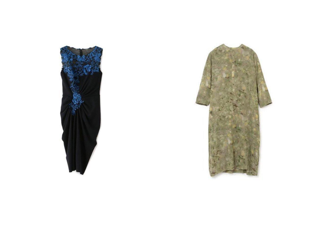 【EPOCA THE SHOP/エポカ ザ ショップ】の【TADASHI SHOJI】フラワーレースギャザードレス&【pas de calais/パドカレ】のCボイルオリーブプリント ワンピース 【ワンピース・ドレス】おすすめ!人気、トレンド・レディースファッションの通販    レディースファッション・服の通販 founy(ファニー)