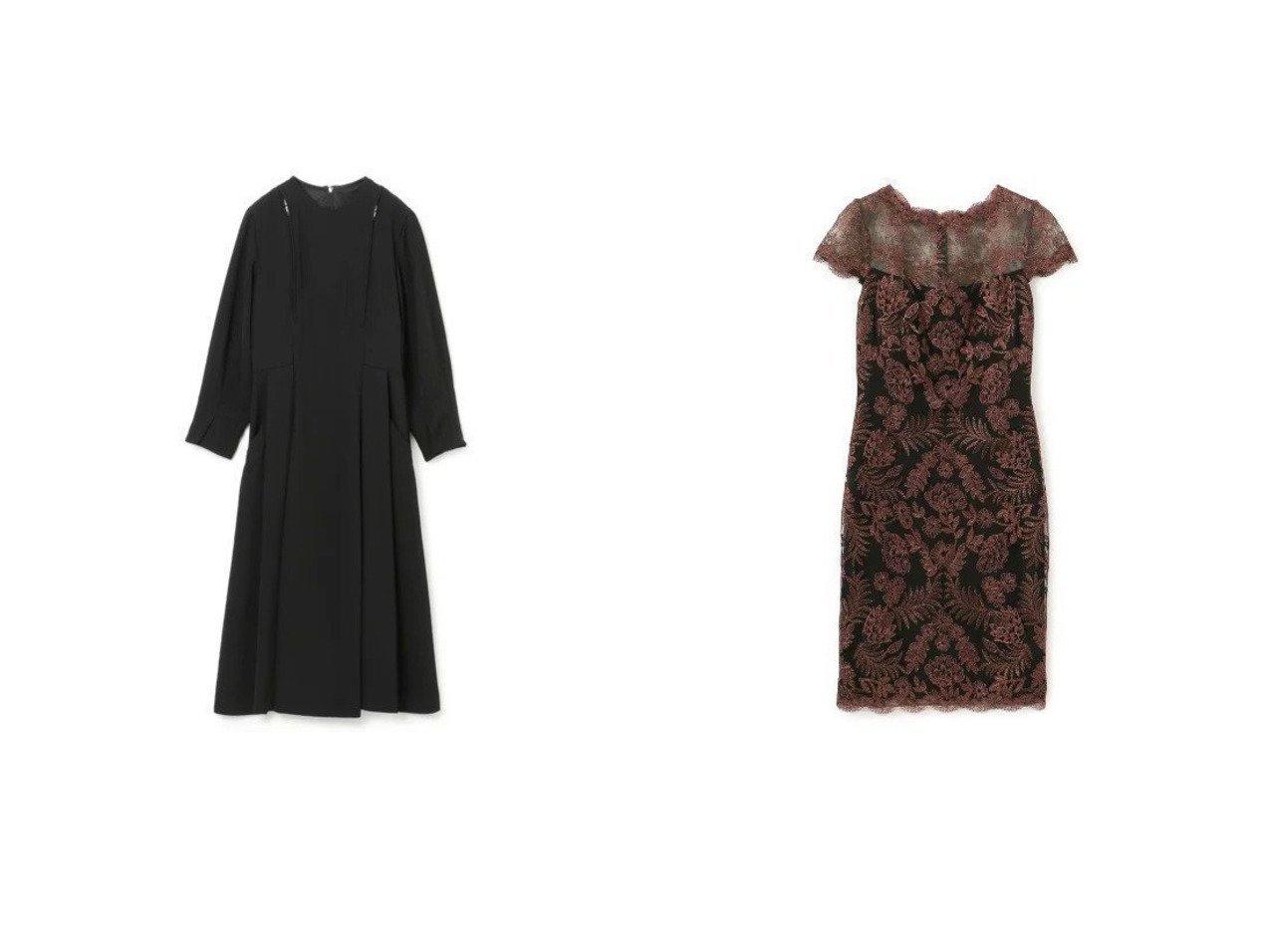 【EPOCA THE SHOP/エポカ ザ ショップ】の【TADASHI SHOJI】ボタニカルレースドレス&【TOGA/トーガ】のAcetate twill shoulder zip dress 【ワンピース・ドレス】おすすめ!人気、トレンド・レディースファッションの通販    レディースファッション・服の通販 founy(ファニー)