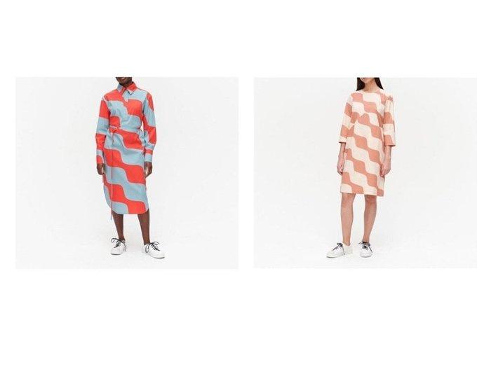 【marimekko/マリメッコ】のOlkoon Taifuuni ワンピース&Kuuluminen Taifuuni ワンピース 【ワンピース・ドレス】おすすめ!人気、トレンド・レディースファッションの通販  おすすめファッション通販アイテム レディースファッション・服の通販 founy(ファニー) ファッション Fashion レディースファッション WOMEN ワンピース Dress シャツワンピース Shirt Dresses ストレッチ スリット フロント プリント ラウンド |ID:crp329100000027532