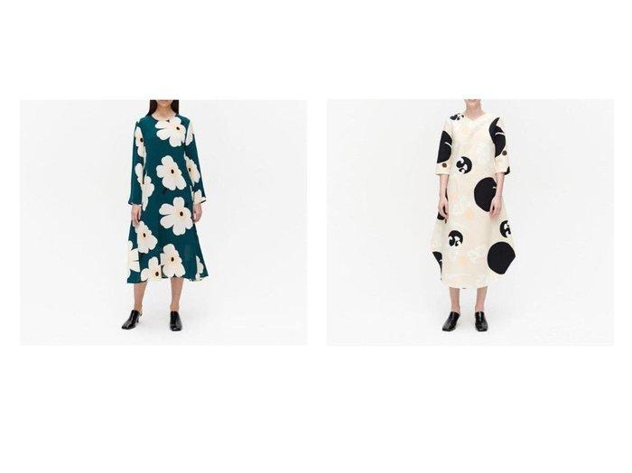 【marimekko/マリメッコ】のHilbertti Juhlaunikko ワンピース&Kornetti ワンピース 【ワンピース・ドレス】おすすめ!人気、トレンド・レディースファッションの通販  おすすめファッション通販アイテム レディースファッション・服の通販 founy(ファニー) ファッション Fashion レディースファッション WOMEN ワンピース Dress おすすめ Recommend エレガント シルク シンプル ストール フェミニン 春 Spring プリント ポケット モダン ラウンド |ID:crp329100000027534