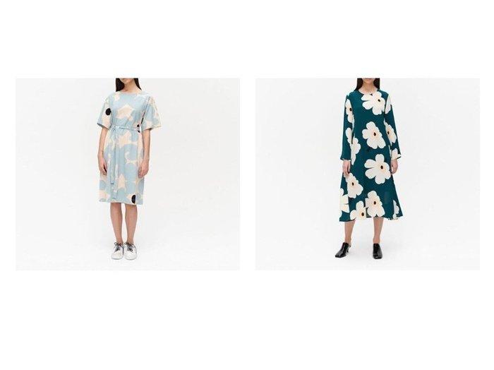 【marimekko/マリメッコ】のHilbertti Juhlaunikko ワンピース&Kollineaari Keidas ワンピース 【ワンピース・ドレス】おすすめ!人気、トレンド・レディースファッションの通販  おすすめファッション通販アイテム レディースファッション・服の通販 founy(ファニー) ファッション Fashion レディースファッション WOMEN ワンピース Dress サークル ショルダー ドロップ バランス モチーフ ワンポイント おすすめ Recommend エレガント シルク シンプル ストール フェミニン 春 Spring |ID:crp329100000027536