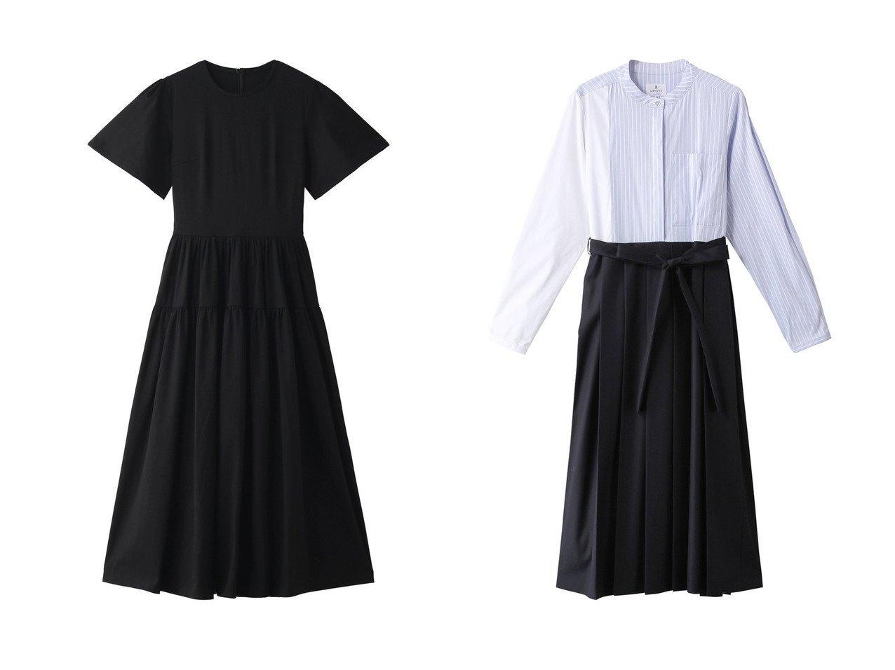 【LANVIN en Bleu/ランバン オン ブルー】のパターンMIXワンピース&【AMICA/アミカ】のスムースドレス 【ワンピース・ドレス】おすすめ!人気、トレンド・レディースファッションの通販  おすすめで人気の流行・トレンド、ファッションの通販商品 メンズファッション・キッズファッション・インテリア・家具・レディースファッション・服の通販 founy(ファニー) https://founy.com/ ファッション Fashion レディースファッション WOMEN ワンピース Dress ドレス Party Dresses 2021年 2021 2021春夏・S/S SS/Spring/Summer/2021 S/S・春夏 SS・Spring/Summer パーティ フィット ロング 春 Spring ストライプ ドッキング パターン プリーツ 無地 |ID:crp329100000027654