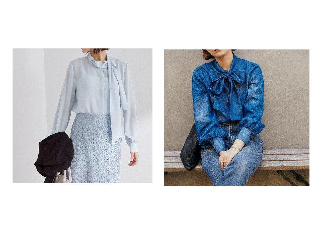 【ROPE'/ロペ】のパウダリーツイルボウタイブラウス&【ROPE' mademoiselle/ロペ マドモアゼル】のボウタイリボンブラウス 【トップス・カットソー】おすすめ!人気、トレンド・レディースファッションの通販  おすすめで人気の流行・トレンド、ファッションの通販商品 メンズファッション・キッズファッション・インテリア・家具・レディースファッション・服の通販 founy(ファニー) https://founy.com/ ファッション Fashion レディースファッション WOMEN トップス・カットソー Tops/Tshirt シャツ/ブラウス Shirts/Blouses インディゴ ヴィンテージ カフス カラフル クラシカル コンパクト ジャケット スペシャル スリーブ 雑誌 チェック デニム フェミニン ポケット リネン リボン NEW・新作・新着・新入荷 New Arrivals おすすめ Recommend |ID:crp329100000027693