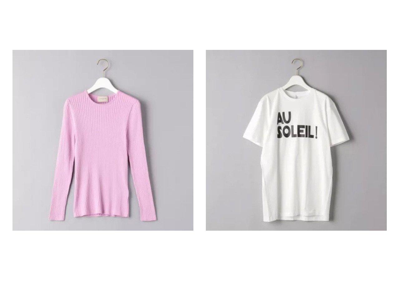 【UNITED ARROWS/ユナイテッドアローズ】の別注AU SOLEIL Tシャツ&SI リブ クルーネック ニット 【トップス・カットソー】おすすめ!人気、トレンド・レディースファッションの通販  おすすめで人気の流行・トレンド、ファッションの通販商品 メンズファッション・キッズファッション・インテリア・家具・レディースファッション・服の通販 founy(ファニー) https://founy.com/ ファッション Fashion レディースファッション WOMEN トップス・カットソー Tops/Tshirt シャツ/ブラウス Shirts/Blouses ロング / Tシャツ T-Shirts カットソー Cut and Sewn ニット Knit Tops インナー カッティング カットソー クラシック プリント 別注 半袖 モノトーン シンプル セーター フィット ベーシック |ID:crp329100000027739