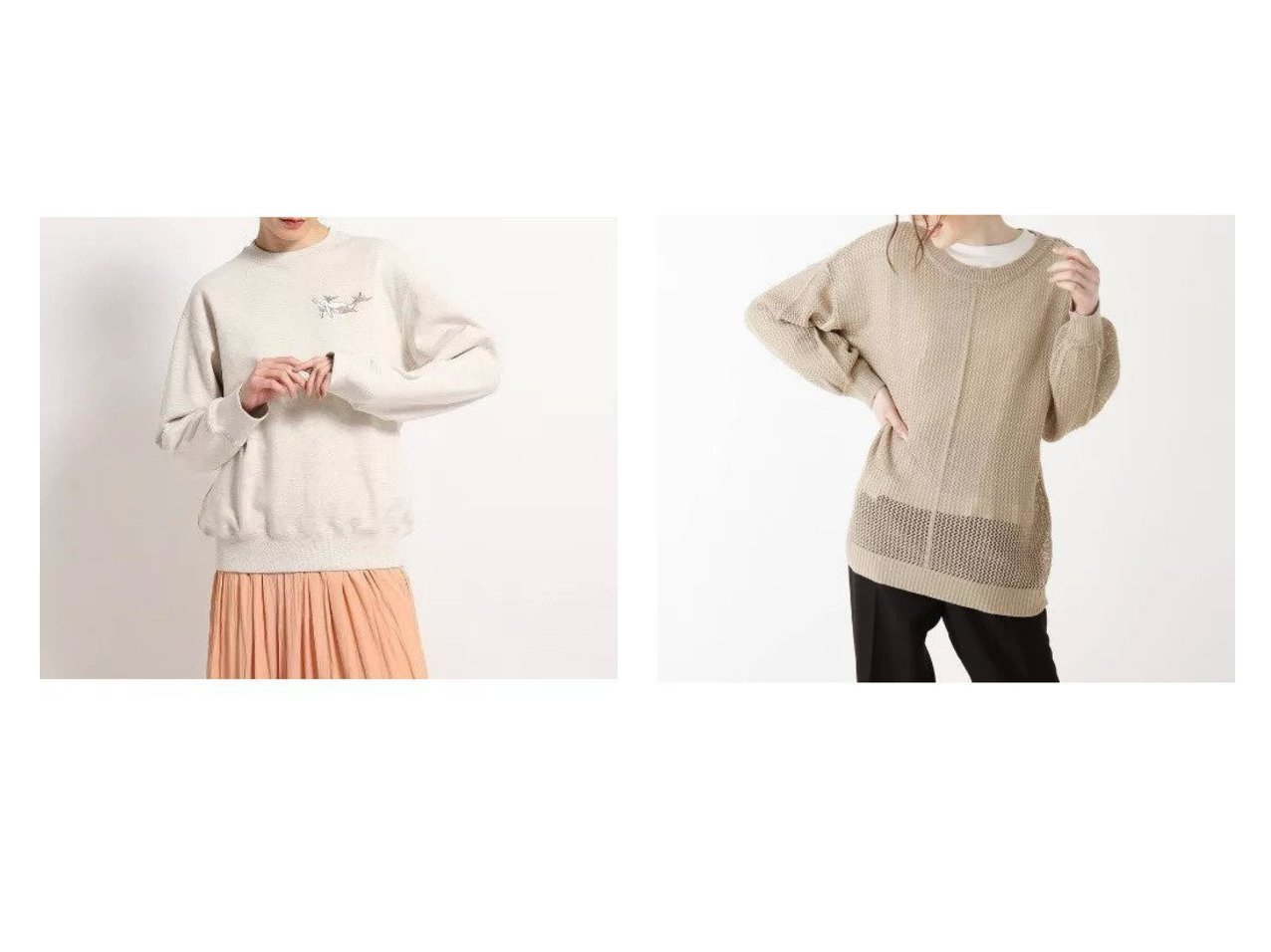 【Dessin/デッサン】の【洗える】アニマルトレーナー&【SHOO LA RUE/シューラルー】の【2点セット】メッシュ編みニット&ロンTセット 【トップス・カットソー】おすすめ!人気、トレンド・レディースファッションの通販  | レディースファッション・服の通販 founy(ファニー)