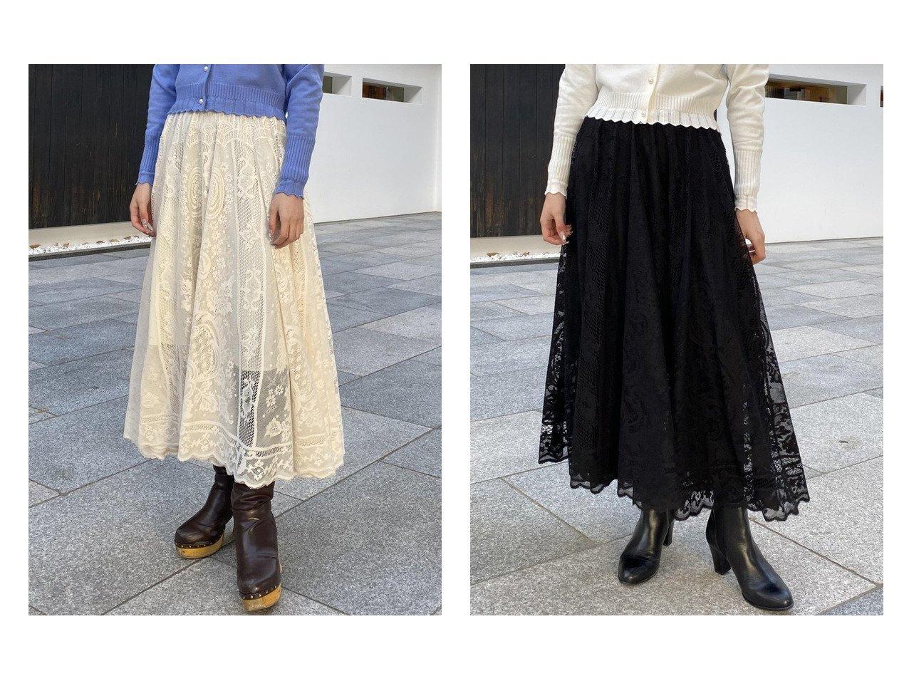 【QUEENS COURT/クイーンズ コート】の幾何柄レーススカート 【スカート】おすすめ!人気、トレンド・レディースファッションの通販 おすすめで人気の流行・トレンド、ファッションの通販商品 メンズファッション・キッズファッション・インテリア・家具・レディースファッション・服の通販 founy(ファニー) https://founy.com/ ファッション Fashion レディースファッション WOMEN スカート Skirt ロングスカート Long Skirt スカラップ レース ロング |ID:crp329100000027835