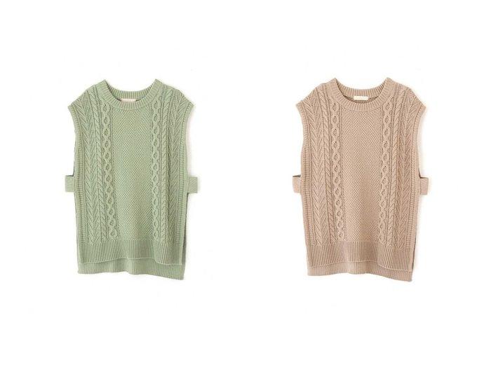 【FREE'S MART/フリーズマート】のケーブルニットベスト 【トップス・カットソー】おすすめ!人気、トレンド・レディースファッションの通販  おすすめファッション通販アイテム レディースファッション・服の通販 founy(ファニー) ファッション Fashion レディースファッション WOMEN アウター Coat Outerwear トップス・カットソー Tops/Tshirt ニット Knit Tops ベスト/ジレ Gilets/Vests インナー スリット センター ビッグ ヘムライン ベスト ボトルネック 鹿の子 |ID:crp329100000027961