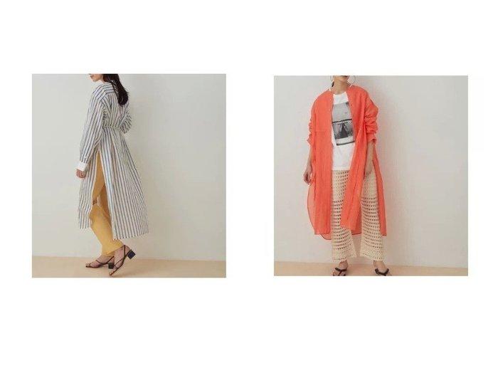 【ADAM ET ROPE'/アダム エ ロペ】のブザムシアーシャツワンピース 【ワンピース・ドレス】おすすめ!人気、トレンド・レディースファッションの通販  おすすめ人気トレンドファッション通販アイテム 人気、トレンドファッション・服の通販 founy(ファニー) ファッション Fashion レディースファッション WOMEN ワンピース Dress シャツワンピース Shirt Dresses オーガンジー 春 Spring サテン シェイプ シルク ストライプ スラックス スリット トレンド 長袖 ボトム ポケット 別注 無地 リラックス 2021年 2021 S/S・春夏 SS・Spring/Summer 2021春夏・S/S SS/Spring/Summer/2021 おすすめ Recommend |ID:crp329100000028064
