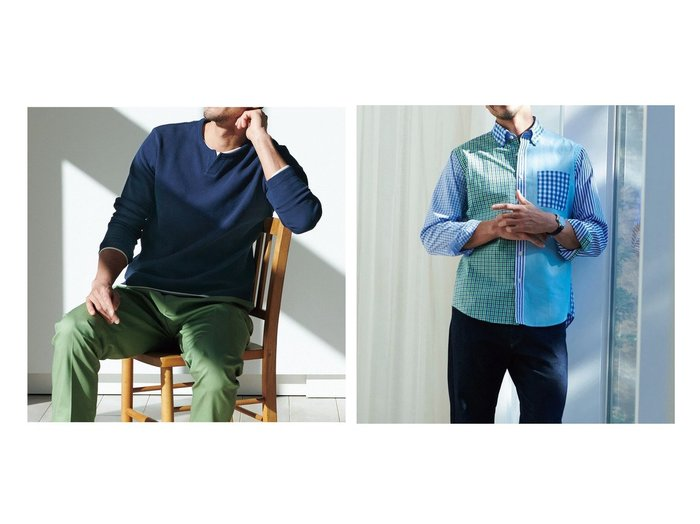 【DoCLASSE / MEN/ドゥクラッセ】のキーネックフェイクレイヤード&クレイジーパターン長袖シャツ 40代、50代の男性におすすめ!人気トレンド・ファッションの通販 おすすめ人気トレンドファッション通販アイテム インテリア・キッズ・メンズ・レディースファッション・服の通販 founy(ファニー) https://founy.com/ ファッション Fashion メンズファッション MEN おすすめ Recommend インナー カットソー ジャケット フェイク 春 Spring パターン 長袖  ID:crp329100000028097