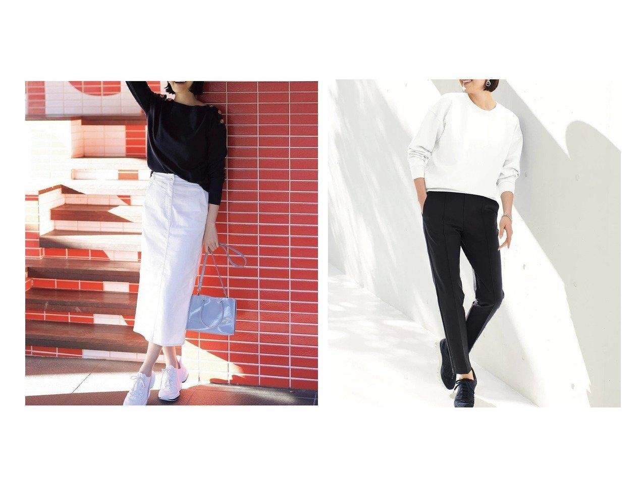 【DoCLASSE/ドゥクラッセ】の甘撚りエアーデニム・ストレートスカート&接結ストレッチ・フォルムトップス 40代、50代の女性におすすめ!人気トレンド・ファッションの通販 おすすめで人気の流行・トレンド、ファッションの通販商品 メンズファッション・キッズファッション・インテリア・家具・レディースファッション・服の通販 founy(ファニー) https://founy.com/ ファッション Fashion レディースファッション WOMEN スカート Skirt トップス・カットソー Tops/Tshirt ストレート デニム なめらか カッティング ショルダー スウェット スリーブ ドロップ 定番 Standard |ID:crp329100000028113