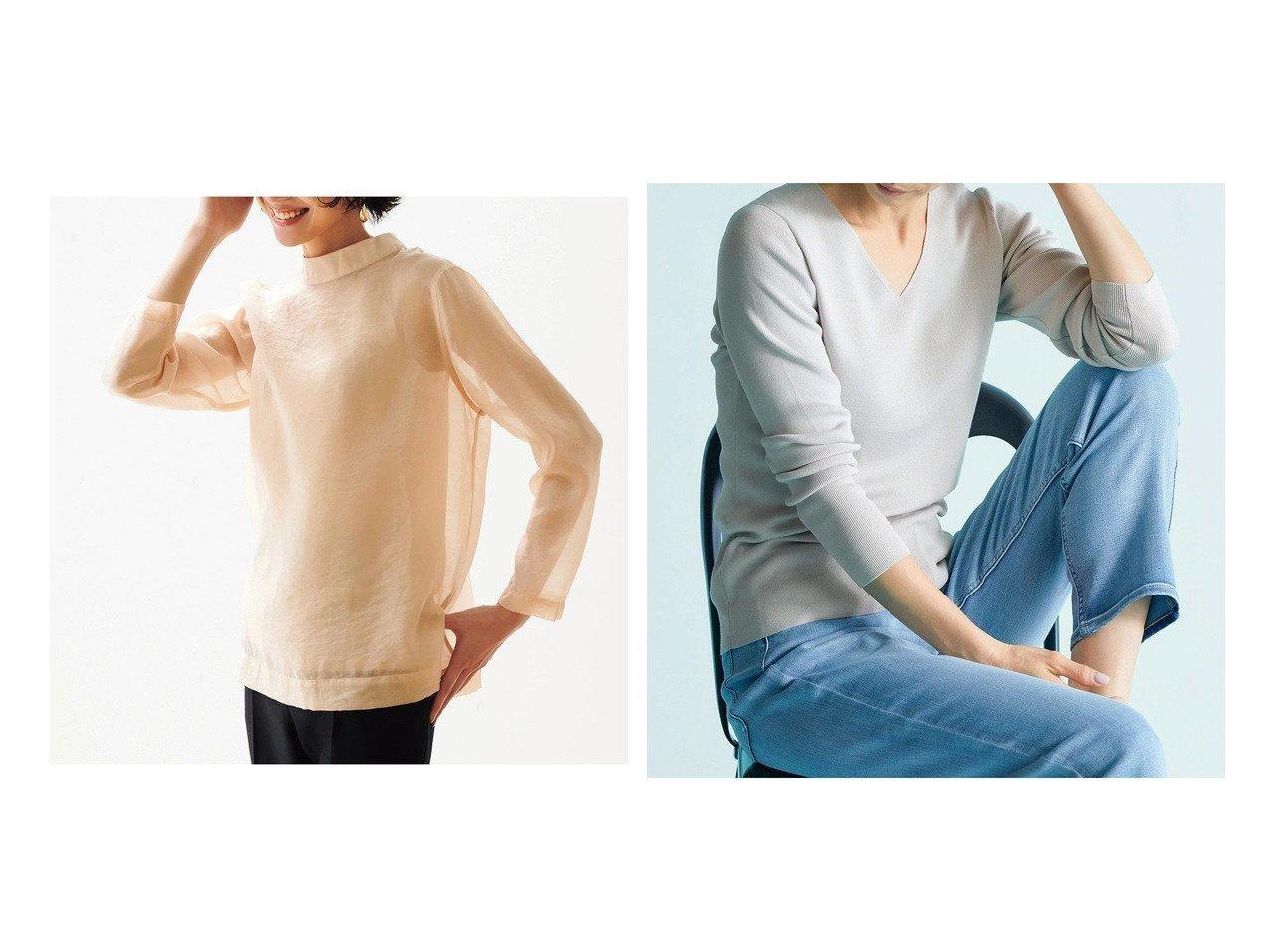【DoCLASSE/ドゥクラッセ】のシアークロス・ハイネックブラウス&総針編み・Vネックニット 40代、50代の女性におすすめ!人気トレンド・ファッションの通販 おすすめで人気の流行・トレンド、ファッションの通販商品 メンズファッション・キッズファッション・インテリア・家具・レディースファッション・服の通販 founy(ファニー) https://founy.com/ ファッション Fashion レディースファッション WOMEN トップス・カットソー Tops/Tshirt シャツ/ブラウス Shirts/Blouses ニット Knit Tops Vネック V-Neck ハイネック インナー カットソー シルク ジャケット |ID:crp329100000028120