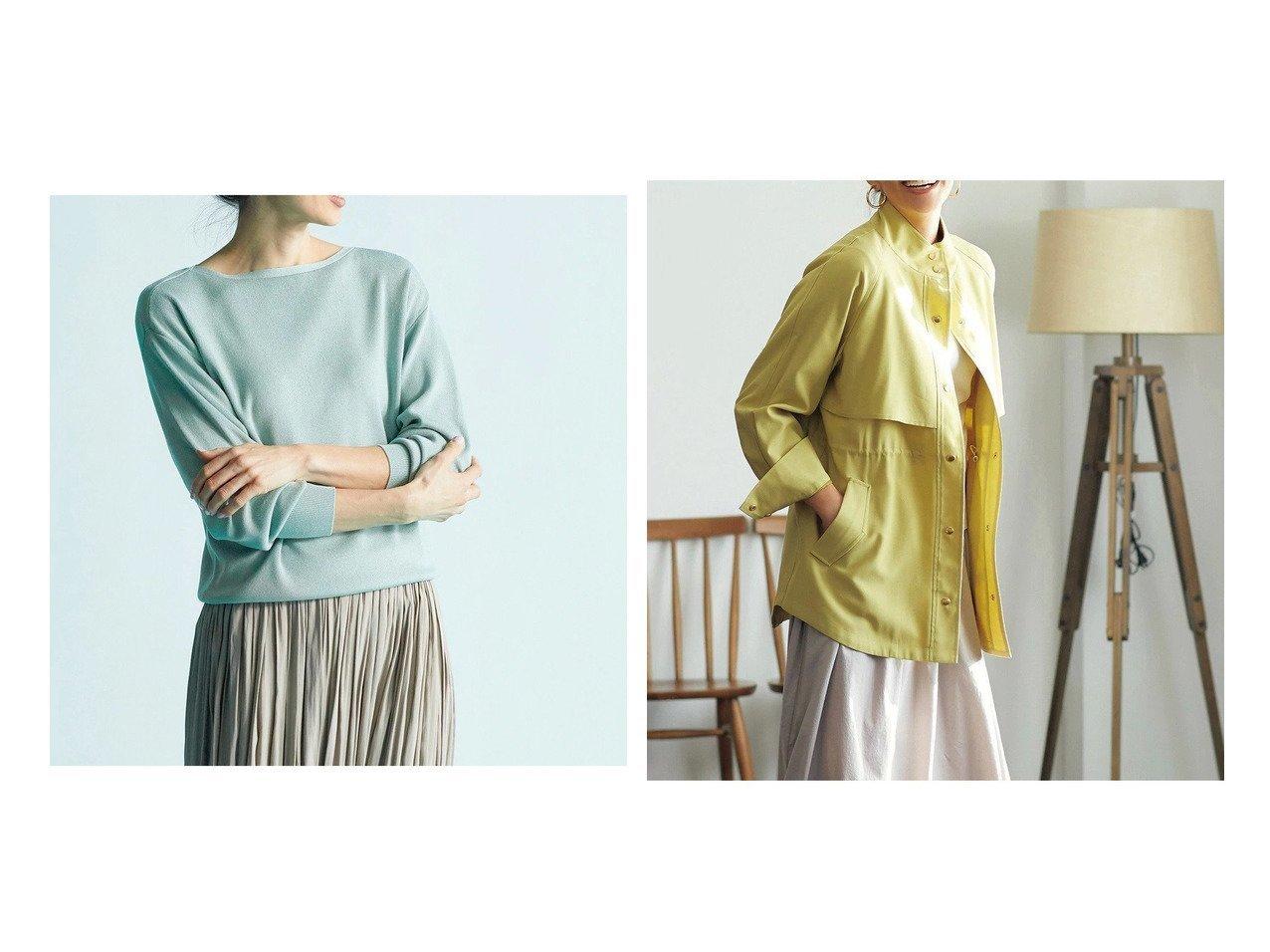 【DoCLASSE/ドゥクラッセ】の総針編み・ボートネックニット&綾織りカルゼ・スタンドカラージャケット 40代、50代の女性におすすめ!人気トレンド・ファッションの通販 おすすめで人気の流行・トレンド、ファッションの通販商品 メンズファッション・キッズファッション・インテリア・家具・レディースファッション・服の通販 founy(ファニー) https://founy.com/ ファッション Fashion レディースファッション WOMEN トップス・カットソー Tops/Tshirt ニット Knit Tops アウター Coat Outerwear ジャケット Jackets インナー カットソー シルク ジャケット ギャザー スタンド タートル ミックス 春 Spring |ID:crp329100000028121