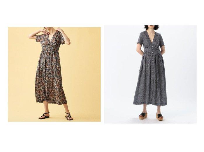 【TOMORROWLAND SOULEIADO/トゥモローランド ソレイアード】のレーヨンプリント Vネックカンパーニュワンピース 【ワンピース・ドレス】おすすめ!人気、トレンド・レディースファッションの通販  おすすめファッション通販アイテム レディースファッション・服の通販 founy(ファニー)  ファッション Fashion レディースファッション WOMEN ワンピース Dress 2020年 2020 2020春夏・S/S SS・Spring/Summer/2020 S/S・春夏 SS・Spring/Summer エレガント オリエンタル ギャザー フェミニン フレア フレンチ プリント 定番 Standard |ID:crp329100000028254