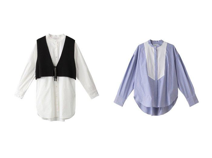 【Ezick/エジック】のニットベスドシャツセット&【MIDIUMISOLID/ミディウミソリッド】のmens like dress shirt 【トップス・カットソー】おすすめ!人気、トレンド・レディースファッションの通販  おすすめファッション通販アイテム インテリア・キッズ・メンズ・レディースファッション・服の通販 founy(ファニー) https://founy.com/ ファッション Fashion レディースファッション WOMEN トップス・カットソー Tops/Tshirt ニット Knit Tops シャツ/ブラウス Shirts/Blouses ワンピース Dress ドレス Party Dresses ショート スリーブ ベスト ベーシック ロング 2021年 2021 2021春夏・S/S SS/Spring/Summer/2021 S/S・春夏 SS・Spring/Summer おすすめ Recommend クラシック スタンド フロント ボトム ワイド 春 Spring |ID:crp329100000028272