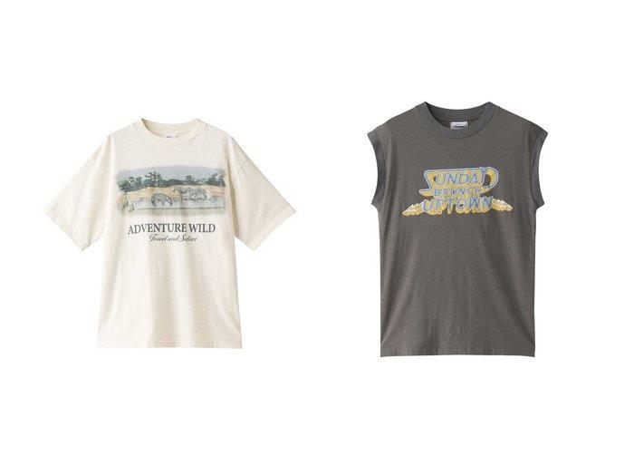 【Shinzone/シンゾーン】のSUNDAY BRUNCH ロゴタンクトップ&ADVENTURE WILD Tシャツ 【トップス・カットソー】おすすめ!人気、トレンド・レディースファッションの通販  おすすめファッション通販アイテム レディースファッション・服の通販 founy(ファニー) ファッション Fashion レディースファッション WOMEN トップス・カットソー Tops/Tshirt シャツ/ブラウス Shirts/Blouses ロング / Tシャツ T-Shirts カットソー Cut and Sewn キャミソール / ノースリーブ No Sleeves 2021年 2021 2021春夏・S/S SS/Spring/Summer/2021 S/S・春夏 SS・Spring/Summer ショート スリーブ フェミニン フレア プリント ボトム 春 Spring |ID:crp329100000028299