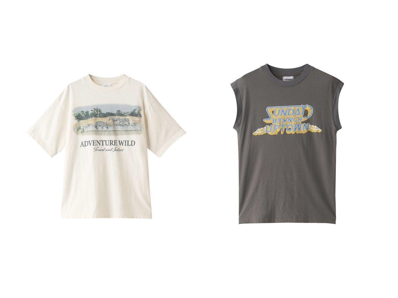 【Shinzone/シンゾーン】のSUNDAY BRUNCH ロゴタンクトップ&ADVENTURE WILD Tシャツ 【トップス・カットソー】おすすめ!人気、トレンド・レディースファッションの通販  おすすめで人気の流行・トレンド、ファッションの通販商品 メンズファッション・キッズファッション・インテリア・家具・レディースファッション・服の通販 founy(ファニー) https://founy.com/ ファッション Fashion レディースファッション WOMEN トップス・カットソー Tops/Tshirt シャツ/ブラウス Shirts/Blouses ロング / Tシャツ T-Shirts カットソー Cut and Sewn キャミソール / ノースリーブ No Sleeves 2021年 2021 2021春夏・S/S SS/Spring/Summer/2021 S/S・春夏 SS・Spring/Summer ショート スリーブ フェミニン フレア プリント ボトム 春 Spring  ID:crp329100000028299