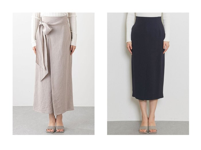 【Whim Gazette/ウィムガゼット】の【オンラインストア限定】リネンキャンバスラップデザインスカート&ACE タイトスカート 【スカート】おすすめ!人気、トレンド・レディースファッションの通販 おすすめファッション通販アイテム レディースファッション・服の通販 founy(ファニー) ファッション Fashion レディースファッション WOMEN スカート Skirt ロングスカート Long Skirt 2021年 2021 2021春夏・S/S SS/Spring/Summer/2021 S/S・春夏 SS・Spring/Summer スリット ラップ リネン リボン ロング ワッシャー 春 Spring |ID:crp329100000028443