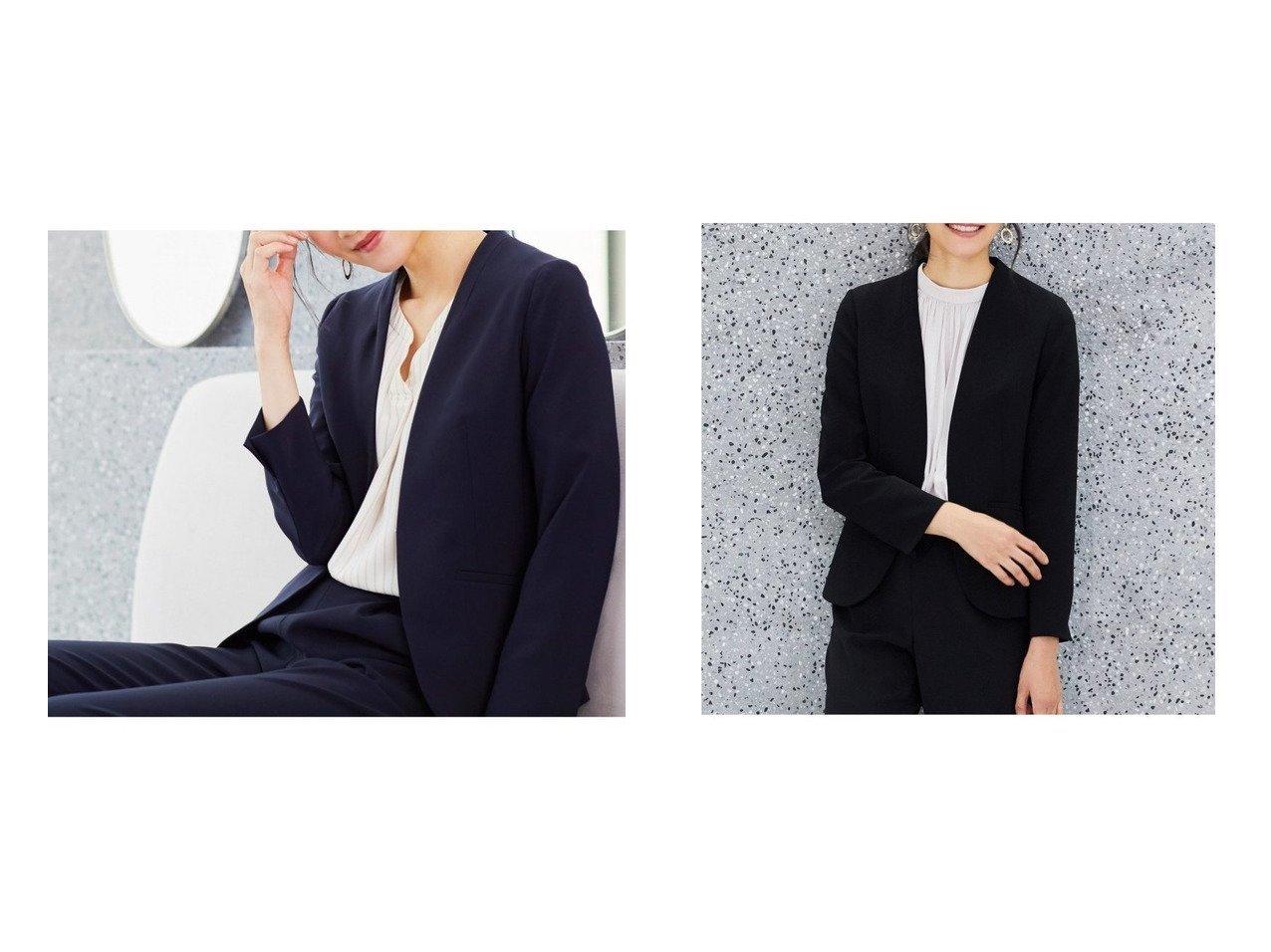 【any SiS/エニィ スィス】の【セットアップ対応】セレモニーダブルクロス ノーカラー ジャケット 【アウター】おすすめ!人気、トレンド・レディースファッションの通販 おすすめで人気の流行・トレンド、ファッションの通販商品 メンズファッション・キッズファッション・インテリア・家具・レディースファッション・服の通販 founy(ファニー) https://founy.com/ ファッション Fashion レディースファッション WOMEN アウター Coat Outerwear コート Coats ジャケット Jackets ノーカラージャケット No Collar Leather Jackets おすすめ Recommend カットソー ジャケット ストレッチ セットアップ ブローチ ボトム ワーク  ID:crp329100000028585