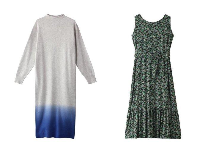 【three dots/スリー ドッツ】のロングワンピース&ノースリーブドレス 【ワンピース・ドレス】おすすめ!人気、トレンド・レディースファッションの通販 おすすめファッション通販アイテム レディースファッション・服の通販 founy(ファニー) ファッション Fashion レディースファッション WOMEN ワンピース Dress ドレス Party Dresses 2021年 2021 2021春夏・S/S SS/Spring/Summer/2021 S/S・春夏 SS・Spring/Summer グラデーション スリット ロング 春 Spring  ID:crp329100000028612