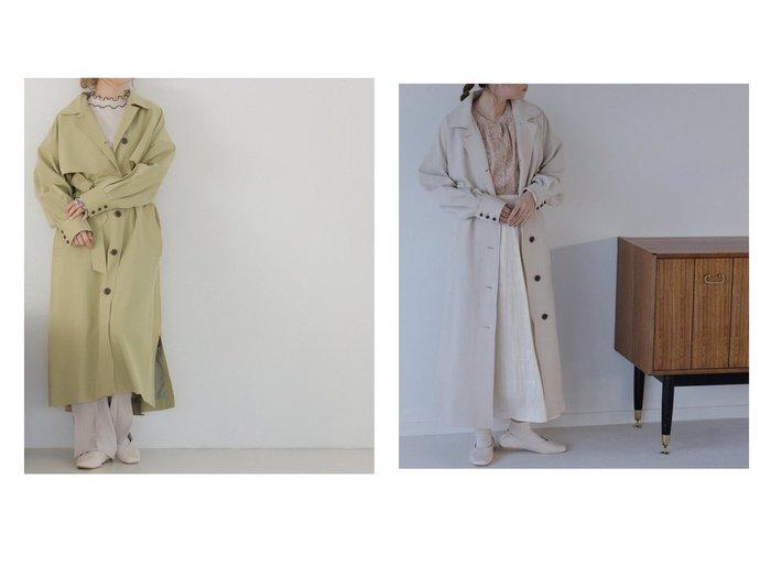 【Ray Cassin/レイカズン】のステンカラータックスリーブトレンチコート 【アウター】おすすめ!人気、トレンド・レディースファッションの通販 おすすめファッション通販アイテム レディースファッション・服の通販 founy(ファニー)  ファッション Fashion レディースファッション WOMEN アウター Coat Outerwear コート Coats ジャケット Jackets トレンチコート Trench Coats おすすめ Recommend シューズ シンプル ジャケット スリット バレエ ロング 春 Spring  ID:crp329100000028722