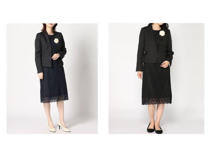 【GeeRa/ジーラ】の【セレモニー3点】レースワンピースセットスーツ 【ワンピース・ドレス】おすすめ!人気、トレンド・レディースファッションの通販 おすすめファッション通販アイテム レディースファッション・服の通販 founy(ファニー)  ファッション Fashion レディースファッション WOMEN ワンピース Dress スーツ Suits スーツセット Suit Sets シフォン ジャケット スーツ パーティ フォーマル ペプラム レース |ID:crp329100000028759