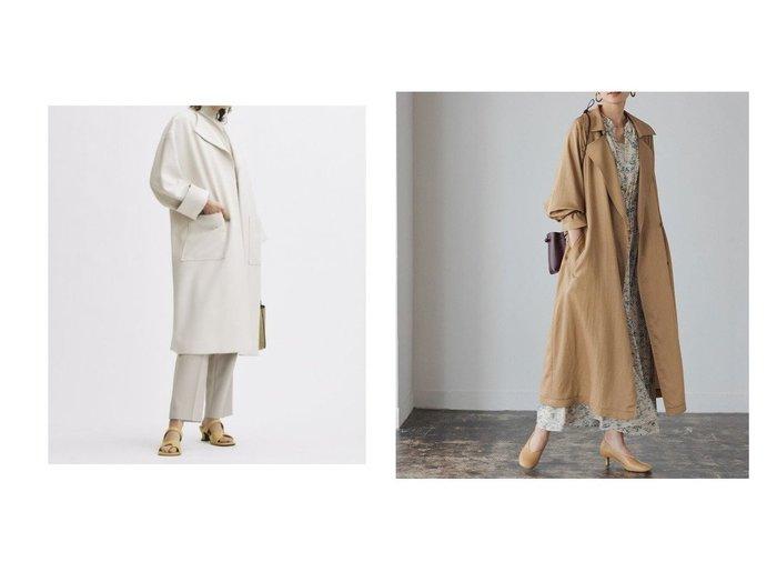 【ADAM ET ROPE'/アダム エ ロペ】のTrench Coat&【Mila Owen/ミラオーウェン】のラペルカラーボックス袖コート 【アウター】おすすめ!人気トレンド・レディースファッションの通販  おすすめファッション通販アイテム レディースファッション・服の通販 founy(ファニー) ファッション Fashion レディースファッション WOMEN アウター Coat Outerwear コート Coats トレンチコート Trench Coats チェスターコート Top Coat シンプル ドレープ ポケット ロング 再入荷 Restock/Back in Stock/Re Arrival おすすめ Recommend ショルダー スクエア スマート チェスターコート ドロップ ボックス |ID:crp329100000029692