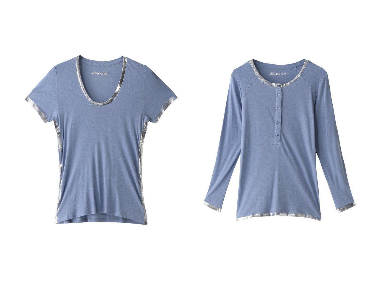 【ZADIG & VOLTAIRE/ザディグ エ ヴォルテール】のTINO FOIL T-SHIRT MODAL Tシャツ&CHLO FOIL T-SHIRT MODAL ML Tシャツ 【トップス・カットソー】おすすめ!人気トレンド・レディースファッションの通販  おすすめで人気の流行・トレンド、ファッションの通販商品 メンズファッション・キッズファッション・インテリア・家具・レディースファッション・服の通販 founy(ファニー) https://founy.com/ ファッション Fashion レディースファッション WOMEN トップス・カットソー Tops/Tshirt シャツ/ブラウス Shirts/Blouses ロング / Tシャツ T-Shirts カットソー Cut and Sewn カットソー コンパクト シルバー スリーブ フィット メタリック ロング 長袖 ショート 半袖 |ID:crp329100000029737