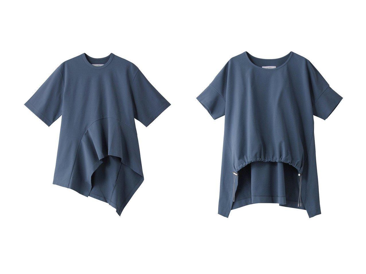 【Ujoh/ウジョー】のフレックスジャージーフロントドローコードTシャツ&フレックスジャージーフレアトリミングTシャツ 【トップス・カットソー】おすすめ!人気トレンド・レディースファッションの通販  おすすめで人気の流行・トレンド、ファッションの通販商品 メンズファッション・キッズファッション・インテリア・家具・レディースファッション・服の通販 founy(ファニー) https://founy.com/ ファッション Fashion レディースファッション WOMEN トップス・カットソー Tops/Tshirt シャツ/ブラウス Shirts/Blouses ロング / Tシャツ T-Shirts カットソー Cut and Sewn ショート シンプル ジャージ スリーブ トリミング フレア ロング ドローコード フロント ボトム |ID:crp329100000029752