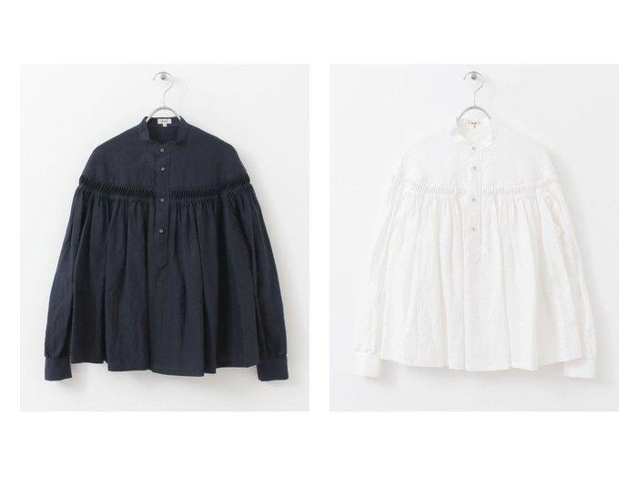 【URBAN RESEARCH DOORS/アーバンリサーチ ドアーズ】のScye Linen Pintucked Pullover Blouse 【トップス・カットソー】おすすめ!人気トレンド・レディースファッションの通販  おすすめファッション通販アイテム レディースファッション・服の通販 founy(ファニー) ファッション Fashion レディースファッション WOMEN トップス・カットソー Tops/Tshirt シャツ/ブラウス Shirts/Blouses プルオーバー Pullover ギャザー クラシック フレア ポケット リアル リネン |ID:crp329100000029780