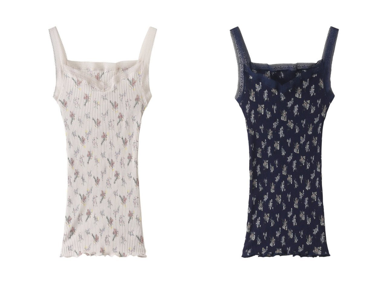 【KID BLUE/キッドブルー】のライラックブーケキャミソール 【お家時間 ルームウェア】おすすめ!人気、トレンド・レディースファッションの通販  おすすめファッション通販アイテム インテリア・キッズ・メンズ・レディースファッション・服の通販 founy(ファニー)  ファッション Fashion レディースファッション WOMEN トップス・カットソー Tops/Tshirt キャミソール / ノースリーブ No Sleeves インナー キャミソール トリミング フィット フェミニン プリント ラップ レース ベージュ系 Beige ブルー系 Blue |ID:crp329100000029823