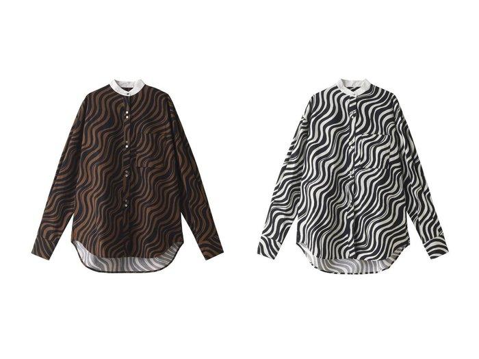【MAISON SPECIAL/メゾンスペシャル】のウェーブプリントバンドカラーシャツ 【トップス・カットソー】おすすめ!人気、トレンド・レディースファッションの通販 おすすめファッション通販アイテム レディースファッション・服の通販 founy(ファニー) ファッション Fashion レディースファッション WOMEN パンツ Pants プリント リラックス 定番 Standard |ID:crp329100000030258
