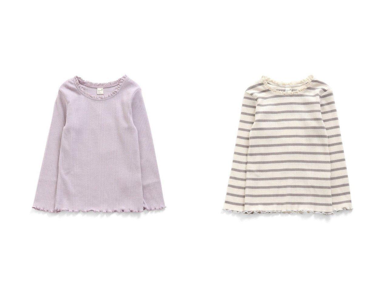【apres les cours / KIDS/アプレレクール】の衿レースリブTシャツ 【KIDS】子供服のおすすめ!人気トレンド・キッズファッションの通販 おすすめで人気の流行・トレンド、ファッションの通販商品 メンズファッション・キッズファッション・インテリア・家具・レディースファッション・服の通販 founy(ファニー) https://founy.com/ ファッション Fashion キッズファッション KIDS トップス・カットソー Tops/Tees/Kids カットソー トレンド 人気 再入荷 Restock/Back in Stock/Re Arrival 長袖 |ID:crp329100000030709