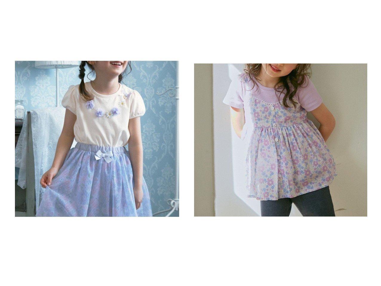 【anyFAM / KIDS/エニファム】の花柄キャミドッキング 半袖Tシャツ&フラワーモチーフネックレス風 パフスリーブTシャツ 【KIDS】子供服のおすすめ!人気トレンド・キッズファッションの通販 おすすめで人気の流行・トレンド、ファッションの通販商品 メンズファッション・キッズファッション・インテリア・家具・レディースファッション・服の通販 founy(ファニー) https://founy.com/ ファッション Fashion キッズファッション KIDS トップス・カットソー Tops/Tees/Kids カットソー スリーブ ネックレス 人気 モチーフ リボン 再入荷 Restock/Back in Stock/Re Arrival 送料無料 Free Shipping キャミソール ショート スカラップ ドッキング プリント 半袖 レギンス おすすめ Recommend |ID:crp329100000030740