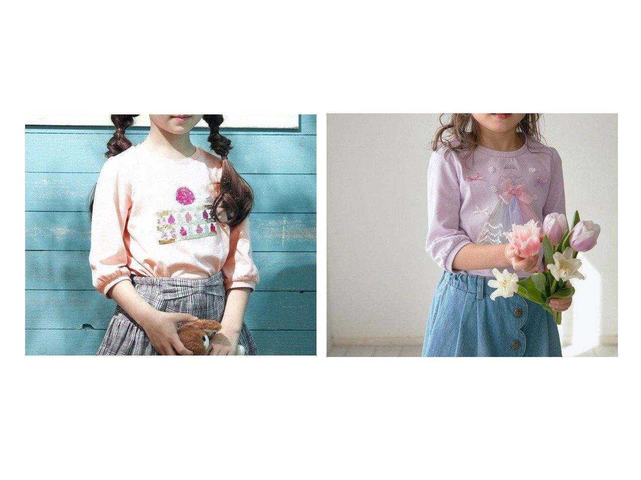 【anyFAM / KIDS/エニファム】のミラクルスパンコール七分袖Tシャツ&プリンセスモチーフ 七分袖 Tシャツ 【KIDS】子供服のおすすめ!人気トレンド・キッズファッションの通販 おすすめで人気の流行・トレンド、ファッションの通販商品 メンズファッション・キッズファッション・インテリア・家具・レディースファッション・服の通販 founy(ファニー) https://founy.com/ ファッション Fashion キッズファッション KIDS トップス・カットソー Tops/Tees/Kids エレガント カットソー チュール 人気 フェミニン モチーフ リボン ロマンティック 再入荷 Restock/Back in Stock/Re Arrival 送料無料 Free Shipping |ID:crp329100000030741
