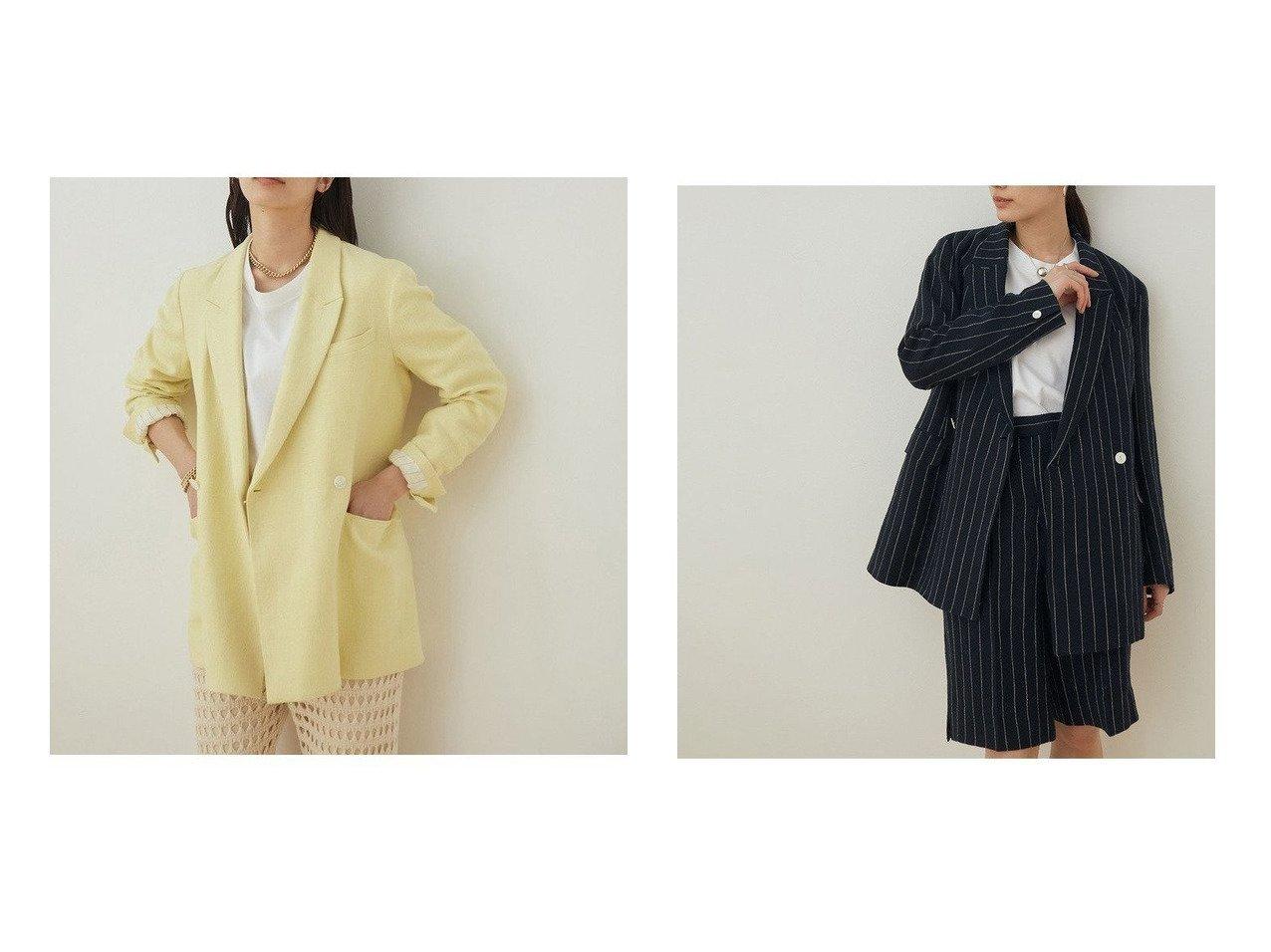 【ADAM ET ROPE'/アダム エ ロペ】の【セットアップ対応】リネンダブルジャケット 【アウター】おすすめ!人気、トレンド・レディースファッションの通販  おすすめで人気の流行・トレンド、ファッションの通販商品 メンズファッション・キッズファッション・インテリア・家具・レディースファッション・服の通販 founy(ファニー) https://founy.com/ ファッション Fashion レディースファッション WOMEN アウター Coat Outerwear ジャケット Jackets テーラードジャケット Tailored Jackets イエロー 春 Spring カッティング サンダル ジャケット ストライプ セットアップ タンブラー ダブル テーラード トレンド ハーフ ポケット 別注 無地 リネン 2021年 2021 S/S・春夏 SS・Spring/Summer 2021春夏・S/S SS/Spring/Summer/2021 NEW・新作・新着・新入荷 New Arrivals おすすめ Recommend |ID:crp329100000032167