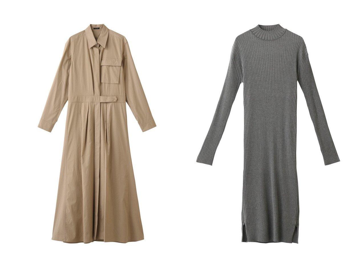 【LE CIEL BLEU/ルシェル ブルー】のツイストリブニットドレス&【DESIGN WORKS/デザイン ワークス】のロングシャツワンピース 【ワンピース・ドレス】おすすめ!人気、トレンド・レディースファッションの通販  おすすめで人気の流行・トレンド、ファッションの通販商品 メンズファッション・キッズファッション・インテリア・家具・レディースファッション・服の通販 founy(ファニー) https://founy.com/ ファッション Fashion レディースファッション WOMEN ワンピース Dress シャツワンピース Shirt Dresses ドレス Party Dresses シルク シンプル スタイリッシュ パーティ フィット |ID:crp329100000032182