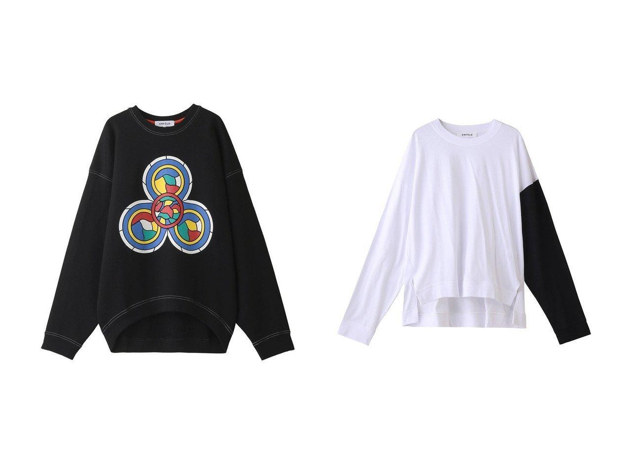 【ENFOLD/エンフォルド】のSainte chaptlle Big プルオーバー&ソフト天竺 ベーシックロンT 【トップス・カットソー】おすすめ!人気、トレンド・レディースファッションの通販 おすすめで人気の流行・トレンド、ファッションの通販商品 メンズファッション・キッズファッション・インテリア・家具・レディースファッション・服の通販 founy(ファニー) https://founy.com/ ファッション Fashion レディースファッション WOMEN トップス・カットソー Tops/Tshirt シャツ/ブラウス Shirts/Blouses ロング / Tシャツ T-Shirts プルオーバー Pullover カットソー Cut and Sewn スウェット スリーブ フロント プリント リラックス ロング  ID:crp329100000032689