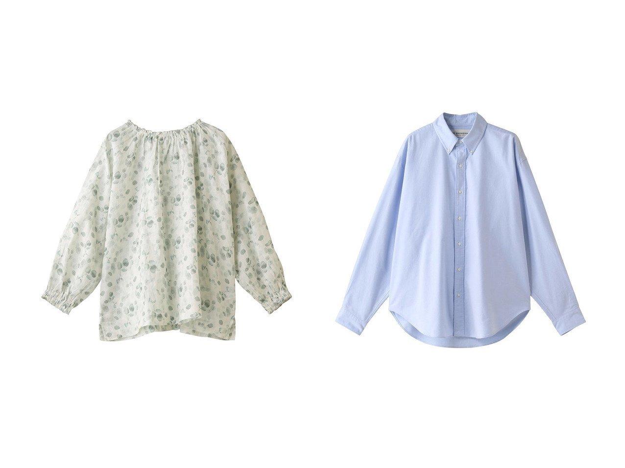 【nest Robe/ネストローブ】のリネンユーカリプリントブラウス&【Shinzone/シンゾーン】のオックスフォードダディーシャツ 【トップス・カットソー】おすすめ!人気、トレンド・レディースファッションの通販 おすすめで人気の流行・トレンド、ファッションの通販商品 メンズファッション・キッズファッション・インテリア・家具・レディースファッション・服の通販 founy(ファニー) https://founy.com/ ファッション Fashion レディースファッション WOMEN トップス・カットソー Tops/Tshirt シャツ/ブラウス Shirts/Blouses シャーリング スリーブ プリント リネン ロング シンプル デニム ボトム 再入荷 Restock/Back in Stock/Re Arrival |ID:crp329100000033767