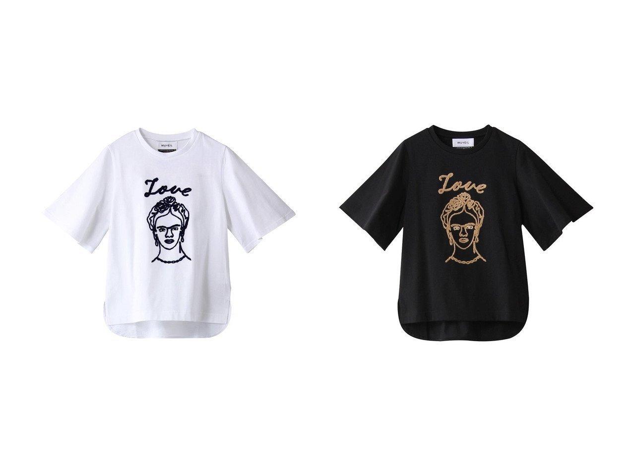【MUVEIL/ミュベール】の刺繍Tシャツ 【トップス・カットソー】おすすめ!人気、トレンド・レディースファッションの通販 おすすめで人気の流行・トレンド、ファッションの通販商品 メンズファッション・キッズファッション・インテリア・家具・レディースファッション・服の通販 founy(ファニー) https://founy.com/ ファッション Fashion レディースファッション WOMEN トップス・カットソー Tops/Tshirt シャツ/ブラウス Shirts/Blouses ロング / Tシャツ T-Shirts カットソー Cut and Sewn ショート スリーブ |ID:crp329100000033772