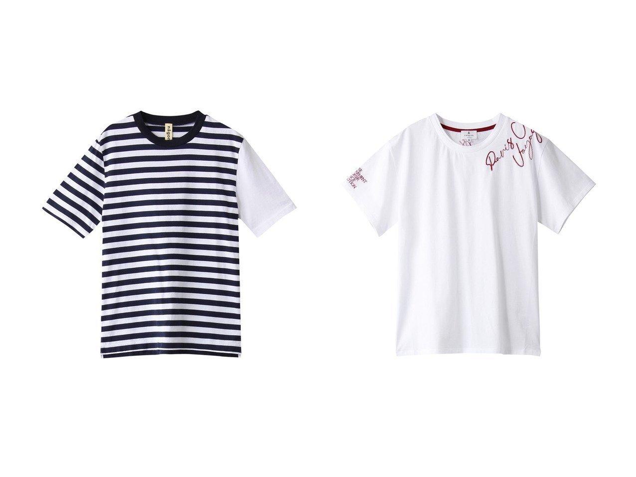 【nagonstans/ナゴンスタンス】のCO Border Tシャツ&【LANVIN en Bleu/ランバン オン ブルー】のレターエンブロイダリーTEE 【トップス・カットソー】おすすめ!人気、トレンド・レディースファッションの通販 おすすめで人気の流行・トレンド、ファッションの通販商品 メンズファッション・キッズファッション・インテリア・家具・レディースファッション・服の通販 founy(ファニー) https://founy.com/ ファッション Fashion レディースファッション WOMEN トップス・カットソー Tops/Tshirt シャツ/ブラウス Shirts/Blouses ロング / Tシャツ T-Shirts カットソー Cut and Sewn ショート スリーブ ボーダー 定番 Standard 無地 アシンメトリー シンプル 半袖  ID:crp329100000033779