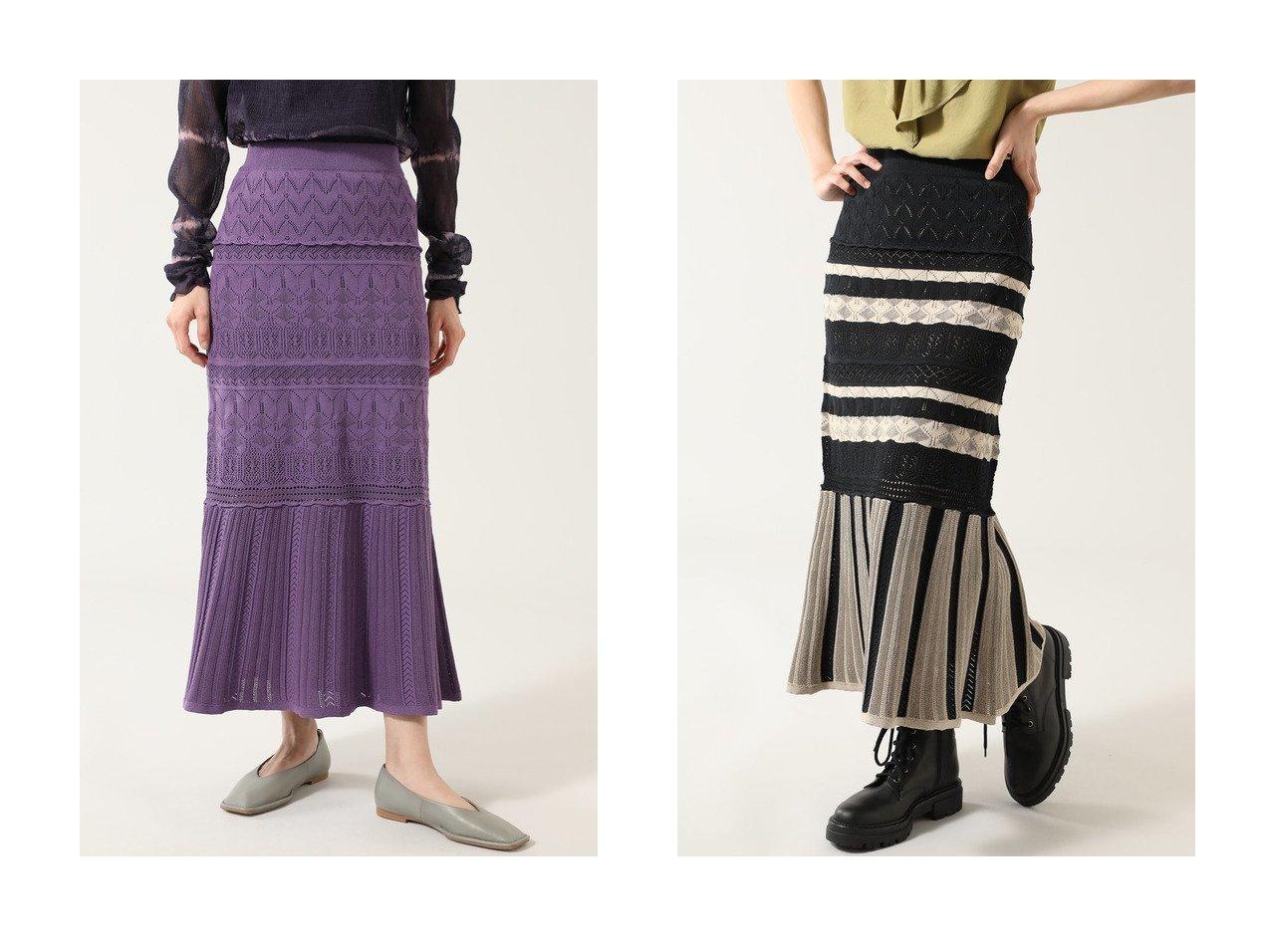 【ROSE BUD/ローズバッド】のレース編みニットスカート 【スカート】おすすめ!人気、トレンド・レディースファッションの通販  おすすめで人気の流行・トレンド、ファッションの通販商品 メンズファッション・キッズファッション・インテリア・家具・レディースファッション・服の通販 founy(ファニー) https://founy.com/ ファッション Fashion レディースファッション WOMEN スカート Skirt ロングスカート Long Skirt おすすめ Recommend セットアップ レース ロング 無地 |ID:crp329100000033933