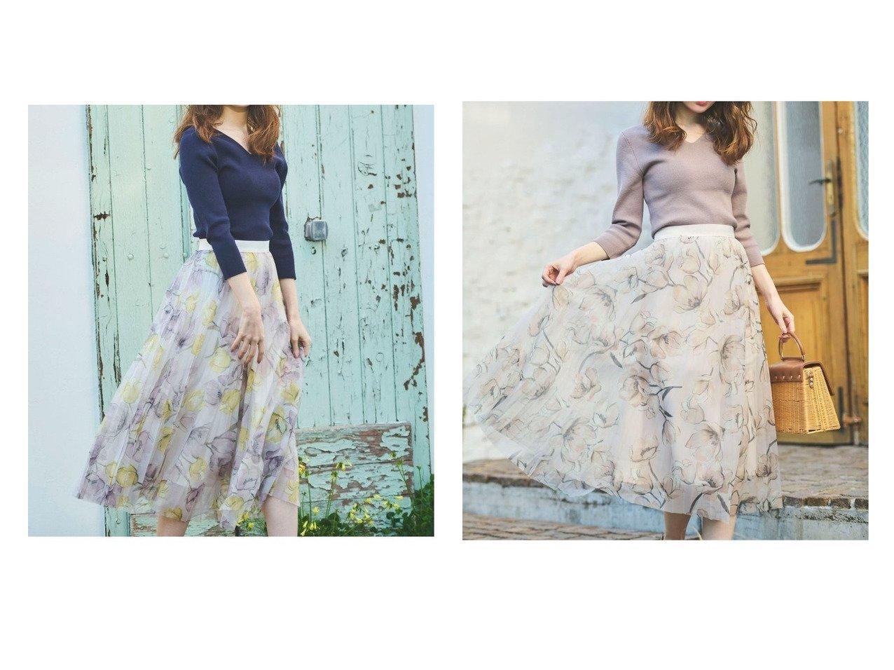 【Noela/ノエラ】のニット×花柄チュールスカートセット 【スカート】おすすめ!人気、トレンド・レディースファッションの通販  おすすめで人気の流行・トレンド、ファッションの通販商品 メンズファッション・キッズファッション・インテリア・家具・レディースファッション・服の通販 founy(ファニー) https://founy.com/ ファッション Fashion レディースファッション WOMEN スカート Skirt シンプル |ID:crp329100000033946