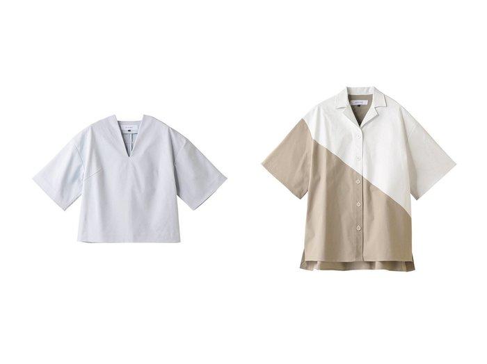 【LE CIEL BLEU/ルシェル ブルー】のフォームドVネックシャツ&ホワイトプリンテッドシャツ 【トップス・カットソー】おすすめ!人気、トレンド・レディースファッションの通販  おすすめファッション通販アイテム レディースファッション・服の通販 founy(ファニー) ファッション Fashion レディースファッション WOMEN トップス・カットソー Tops/Tshirt シャツ/ブラウス Shirts/Blouses Vネック V-Neck おすすめ Recommend ショート シンプル スタイリッシュ スリーブ デコルテ リラックス  ID:crp329100000034082