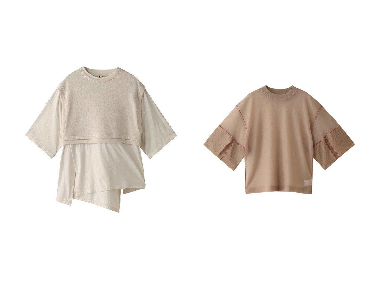 【nagonstans/ナゴンスタンス】のソフト天竺コンビTシャツ&【CLANE/クラネ】のSEE-ニットトップス 【トップス・カットソー】おすすめ!人気、トレンド・レディースファッションの通販  おすすめで人気の流行・トレンド、ファッションの通販商品 メンズファッション・キッズファッション・インテリア・家具・レディースファッション・服の通販 founy(ファニー) https://founy.com/ ファッション Fashion レディースファッション WOMEN トップス・カットソー Tops/Tshirt シャツ/ブラウス Shirts/Blouses ロング / Tシャツ T-Shirts カットソー Cut and Sewn ニット Knit Tops プルオーバー Pullover カットソー コンビ ショート シンプル スリーブ バランス ベスト インナー キャミ スリット トレンド 人気 今季 春 Spring |ID:crp329100000034089