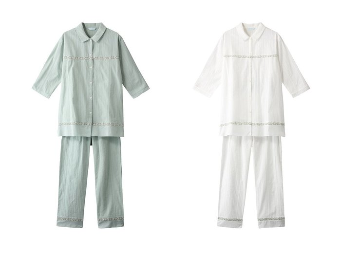 【KID BLUE/キッドブルー】の21レーシーストライプパジャマ 【トップス・カットソー】おすすめ!人気、トレンド・レディースファッションの通販  おすすめファッション通販アイテム レディースファッション・服の通販 founy(ファニー) ファッション Fashion レディースファッション WOMEN トップス・カットソー Tops/Tshirt パジャマ フラワー リラックス レース |ID:crp329100000034108