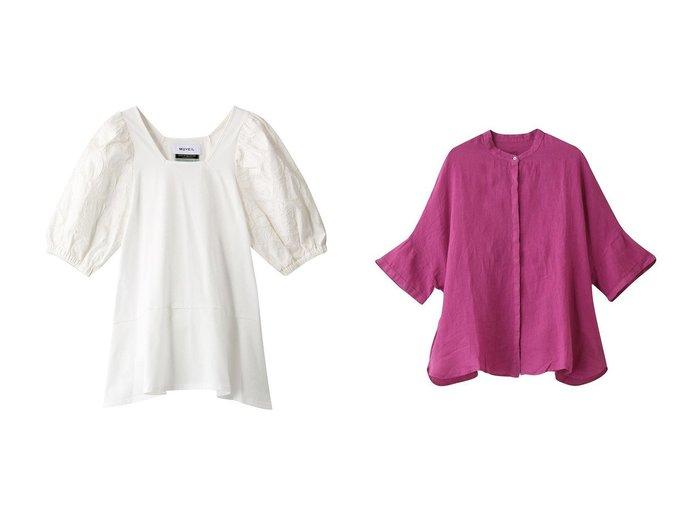 【120% lino/120パーセントリノ】のノーカラーリネンブラウス&【MUVEIL/ミュベール】のフラワー刺繍カットソー 【トップス・カットソー】おすすめ!人気、トレンド・レディースファッションの通販  おすすめファッション通販アイテム レディースファッション・服の通販 founy(ファニー) ファッション Fashion レディースファッション WOMEN トップス・カットソー Tops/Tshirt シャツ/ブラウス Shirts/Blouses ロング / Tシャツ T-Shirts カットソー Cut and Sewn S/S・春夏 SS・Spring/Summer カットソー ショート スクエア スリーブ フラワー フレア 春 Spring シンプル |ID:crp329100000034113
