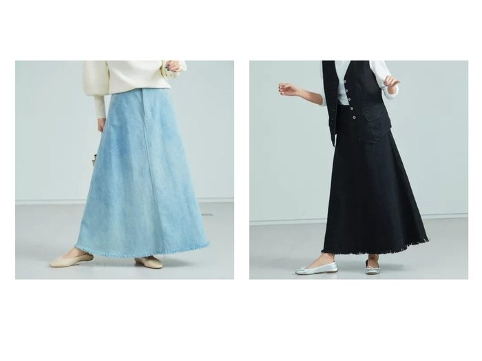 【Rouge vif/ルージュ ヴィフ】の【JILKY】カットオフフレアデニムロングスカート 【スカート】おすすめ!人気、トレンド・レディースファッションの通販 おすすめ人気トレンドファッション通販アイテム 人気、トレンドファッション・服の通販 founy(ファニー) ファッション Fashion レディースファッション WOMEN スカート Skirt ロングスカート Long Skirt カットオフ シフォン デニム トレンド フィット フォルム フレア マキシ レース ロング |ID:crp329100000034388