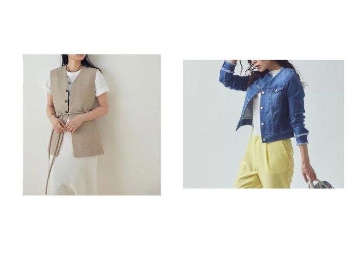 【Viaggio Blu/ビアッジョブルー】のノーカラーデニムジャケット&【ADAM ET ROPE'/アダム エ ロペ】の【セットアップ対応】ダブルリネンライクジレ 【アウター】おすすめ!人気、トレンド・レディースファッションの通販  おすすめファッション通販アイテム レディースファッション・服の通販 founy(ファニー)  ファッション Fashion レディースファッション WOMEN アウター Coat Outerwear ジャケット Jackets デニムジャケット Denim Jackets トップス・カットソー Tops/Tshirt ベスト/ジレ Gilets/Vests セットアップ Setup トップス Tops ジャケット ストレッチ デニム フリンジ 人気 イエロー インナー 春 Spring カッティング シンプル セットアップ タンク ダブル デコルテ トレンド ネックレス 長袖 ベスト ポケット 別注 半袖 |ID:crp329100000034479